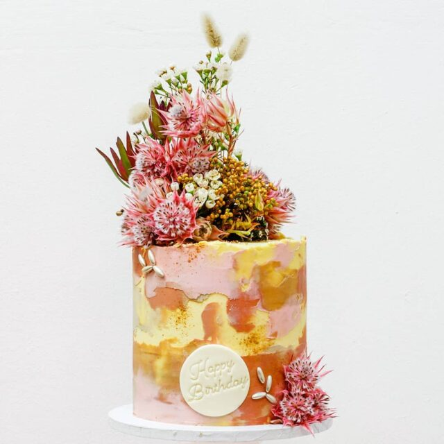 THE BLUSHING BRIDE ... A stunner of a birthday cake for a very special client - from another very special client of mine!  ... This was our ever popular lemon and poppy sponge with lemoncurd and zesty filling - covered in textured buttercream and indigenous flowers - how pretty do the blushing brides look with the @colour.mill colours??? ... #celebrationcake #celebrate #celebrationcakes #crumb #crumbbyanmar #crumbcakes #cakeme #birthday #birthday🎂 #birthdaycake